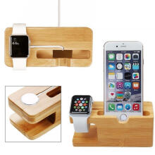 Farfi Bamboo Wood Phone Charger Dock Holder Desk Stand for iPhone Apple Watch 38/42mm