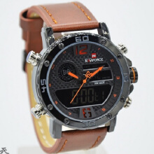 Naviforce Jam Tangan Pria -D44H185NF9134CKTORN -Dual Time -Leather Srap-Coklat Orange Brown