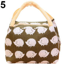Farfi Cute Cartoon Thermal Insulated Canvas Food Fruit Storage Case Pouch Lunch Box Bag