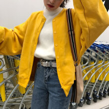 Women Long Jackets Autumn Winter Coat Women winter cardigan jacket plus velvet yellow 2xl