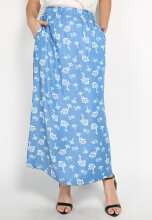 Mobile Power Ladies Maxi Skirt Printing Flower - Light Blue Denim K8398 Light Blue All Size