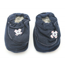 Cribcot Booties with Ribbon - Navy Blue & Baby Pink  3 -6M