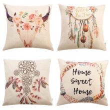 ESG Set of 4 Bohemian Style Decorative Throw Pillow Covers 18 x 18 Inch for Sofa Couch Decor Dreamcatcher