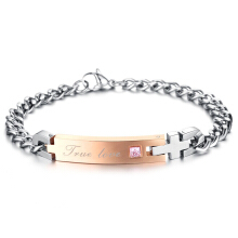 SESIBI Women Men Ti Crystal Chain Bracelet Couples Romantic Bangle Jewelry -