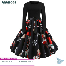 Anamode Women Fancy Printed Dresses Winter Party Swing Retro Dress Christmas Clothes -Multicolor -