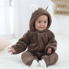 [COZIME] Infant Baby Cartoon Cute Animal Shaped Romper Unisex Long-sleeved Jumpsuit Brown1  6-9M