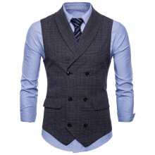 Famirosa Casual Double Breasted Plaid Waistcoat - Light Gray