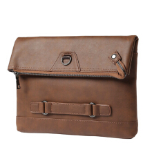 YOOHUI male Vintage Men Crazy Horse PU Leather casual Envelope man Day Clutches Shoulder Bag Brown