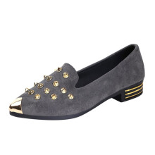 BESSKY Ladies Women's Shoes Fashion Pointed Toe Rivet Casual Shoes Low Heel Flat Shoes_
