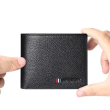 AIM Q218 Men's leather Cowhide two fold horizontal section leather card holder wallet multi-function wallet-Black
