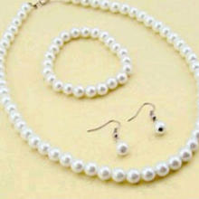 Farfi Elegant Women Faux Pearl Beads Necklace Bracelet Hook Earrings Party Jewelry Set as the pictures