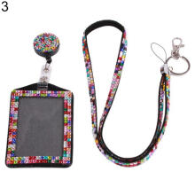 Farfi Retractable ID Badge Neck Lanyard Rhinestone Case Name Tag Card Holder Cover