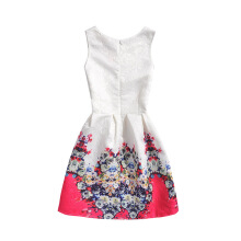 SESIBI Size 130~160 Girls Dresses Children Summer Dress Princess Costume Teens Fashion Printing Wear - Red Colorful Flowers -