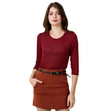 FACTORY OUTLET LO1709-0006 Women T-Shirt Ls Crewneck - 35W0 Red - [S]