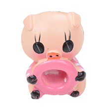 Jantens 4Pcs/Set Cute Cartoon LOVE Pig Resin Car Dashboard Doll Ornaments Accessories Pink