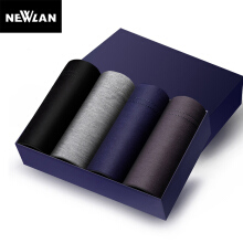Newlan Modal Cotton Men Underwear Comfortable Solid Color New Fashion Boxer Underpants 4Pcs