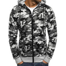 Farfi Men Camouflage Zip Hooded Jacket Drawstring Casual Long Sleeve Sweatshirt Coat
