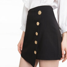 Jantens New fashion polyester skirt ladies casual solid color black high waist Preppy asymmetric button