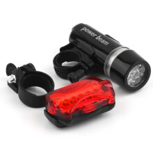 [kingstore] 5 Water Resistant LED Bike Bicycle Head Light Rear Safety Flashlight Bracket Black