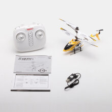 [kingstore] Syma S107H Gyro Metal 2.4G 3.5H RC Drone Mini Helicopter Altitude Hold Toys Yellow