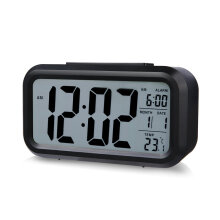 [OUTAD] LED Digital Electronic Alarm Clock Backlight Time With Calendar + Thermometer White