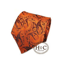 HOUSEOFCUFF Dasi Neck Tie Motif Wedding Best Man ORANGE BLACK PAISLEY BATIK TIE Orange