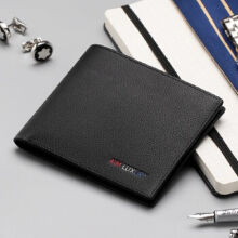AIM Q263 Men's leather Cowhide two fold horizontal section leather card holder wallet multi-function wallet-Black