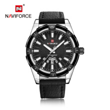 NAVIFORCE Fashion Brand Waterproof Analog Quartz Watch Mens Leather Calendar Clock Man Watch