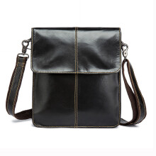 Jantens Genuine Leather Men Bag Man Crossbody Shoulder Bag Men Small Business Bags Male Black