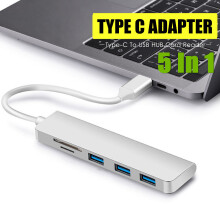 Blitzwolf 5 in 1 Aluminum USB Type-C Hub Adapter 3 USB 3.0 SD TF Card Reader For MacBook   -  -