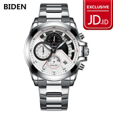 jam tangan Biden pria fashion cool stainless steel sport bisnis analog quartz waterproof jam tangan