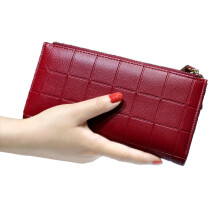 Jantens Leather Purse Plaid Wallets Long Ladies Colorful Walet Red Clutch 10 Card Holder Coin Bag Red