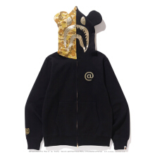 BAPE BEARBRICK SHARK ZIP HOODIE GOLD - C Golden SIZE S