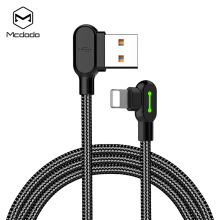 MCDODO CA - 4673 Fast Charging 8 Pin Game Cable 1.8M 90 Degree LED Black