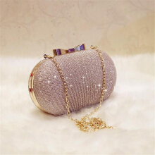 Lopbinte  Golden Evening Clutch Bag Women Bags Wedding Shiny Handbags Bridal Metal Bow Clutches Bag Chain Shoulder Bag gold
