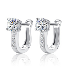 Farfi Women's Fashion Silver Plated Rhinestone Studs Harp White Leverback Earrings