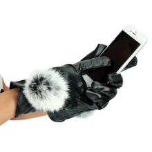SiYing Simple Winter full finger touch screen plus velvet thick warm gloves Black
