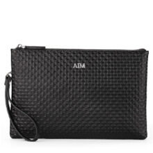 AIM S008 Simple large-capacity clutch bag leather envelope bag male hand bag holder bag-Black