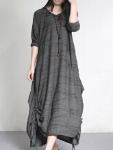 Zanzea 0051Vintage Women Pure Color Pleated Irregular Hem Long Sleeve Dress Gray 14
