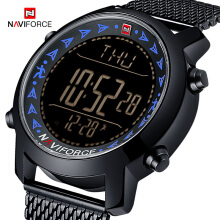 NAVIFORCE 9130 Mens Watches Top Brand Luxury Casual Digital Watch Full Steel Strap Waterproof 30M LED display Wrist watch