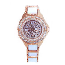 Women Rhinestone Bracelet Watch Round Dial Alloy Ceramic Strap Quartz Watch Rose Gold