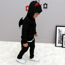 [OUTAD] Little Devil Wings Suit Baby Children's Clothing Boys Girls Spring Clothing Black Size 90