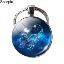Farfi Single Face Round Glass 12 Constellation Zodiac Sign Pendant Key Ring Keychain