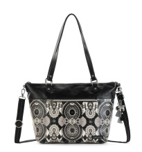 Sakroots City Satchel Bag Black & White Wanderlust White Black