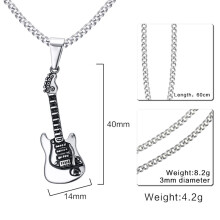Jantens 2018 New Rock Punk Guitar Necklace Men Jewelry Stainless Steel Male Necklaces & Pendants Silver