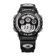 Zanzea HOSKA Men Sport Digital Watch Waterproof Luminous Numbers Alarm Function White