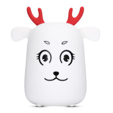 LED Rechargeable Silicone Deer Night Light Tap Control for Bedroom Living Room Milk - White