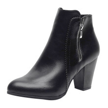 BESSKY Women Vintage Chunky High Heels Thick Heel Short Boot Ankle Booties zipper Shoes_