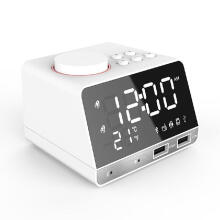 Bellylady Rechargeable Multifunction Bluetooth Speaker Double USB Ports Bluetooth Voice Box with Alarm Clock Radio