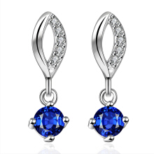 SESIBI Geometric Water Drop Sapphire Crystal Bridal Long Drop Pendant Earrings for Women Dangle Earring Silver